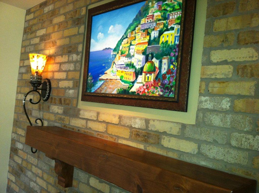 fireplace Mantel with painting