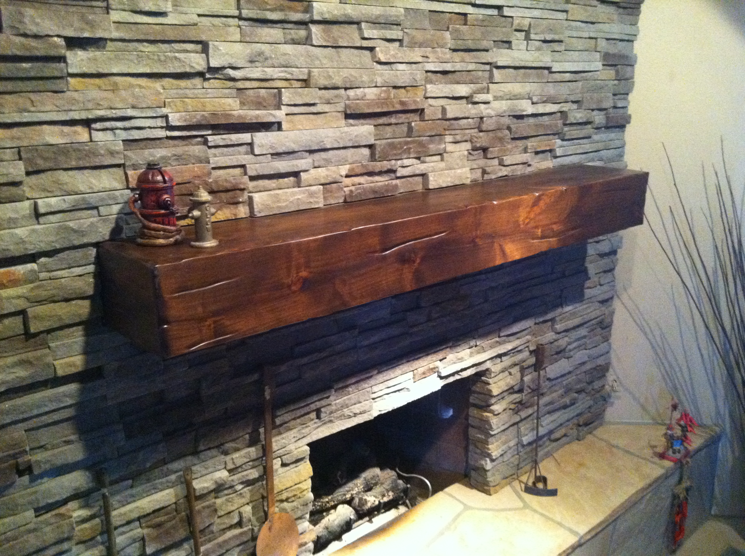 Beautiful Distressed Knotty Alder Fireplace Mantel Finished In Early